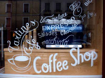 Enseigne coffee shop - Lettrages sur vitre