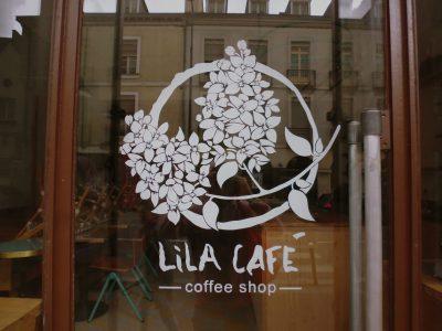 Enseigne coffee shop - Enseigne sur porte vitrée